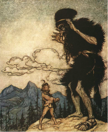 "Photo. ""Jack vs the Giant,"" illustrator Arthur Rackham"
