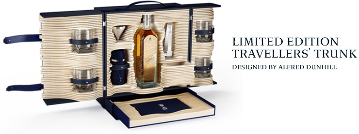 Photo: Johnnie Walker Blue Label Limitied Edition COllection: the bottle for travel retail (above) and the Trunk (below)