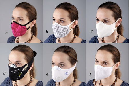 Photo: a variety of anti-pollution masks with different designs
