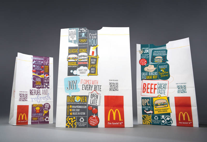 Photo: McDonald's QR-enhanced packaging designs, introduced earlier this year