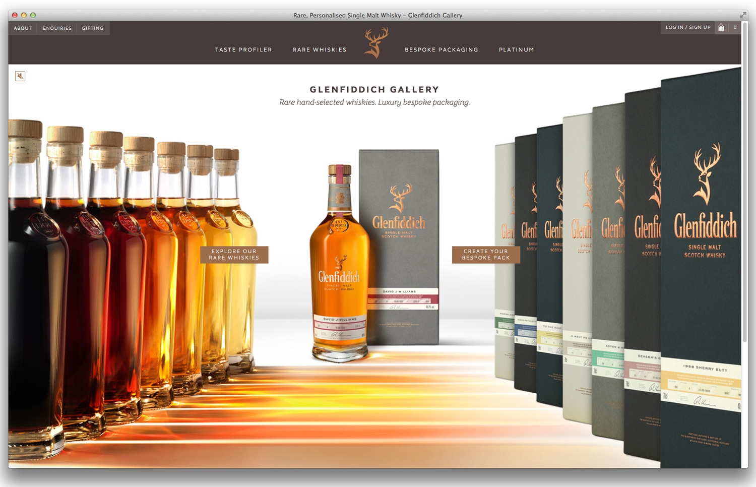 Pic.: Glenfiddich Gallery —a responsive whisky website that allows malt lovers to create their own one-of-a-kind Glenfiddich packaging. Designed by  Purple Creative, 2014