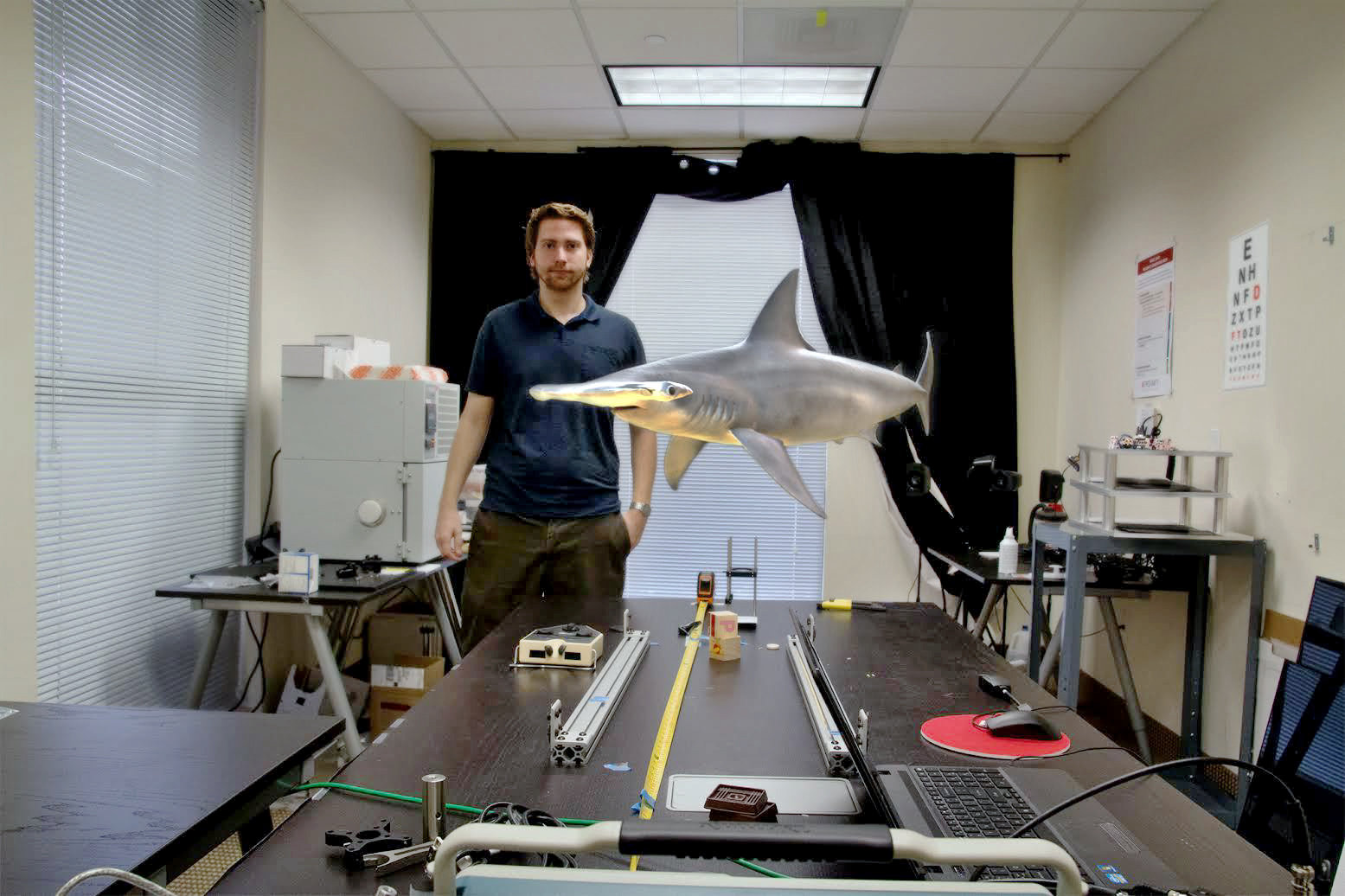 Photo: a 3-D virtual light projection of a shark, at Magic Leap's office in Florida. Image credit: NYtimes.com