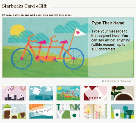 starbucks launches card egift program, targeting facebook users, Greeting card