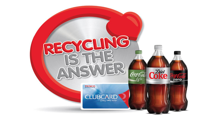 "Photo: Tesco and CCE's shared digital initiative ""Recycling is the answer"""
